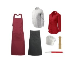 další vybavení pro restaurace, oblečení pro číšníky a servírky, košile pro číšníka, košile pro servírky, dlouhá číšnická zástěra